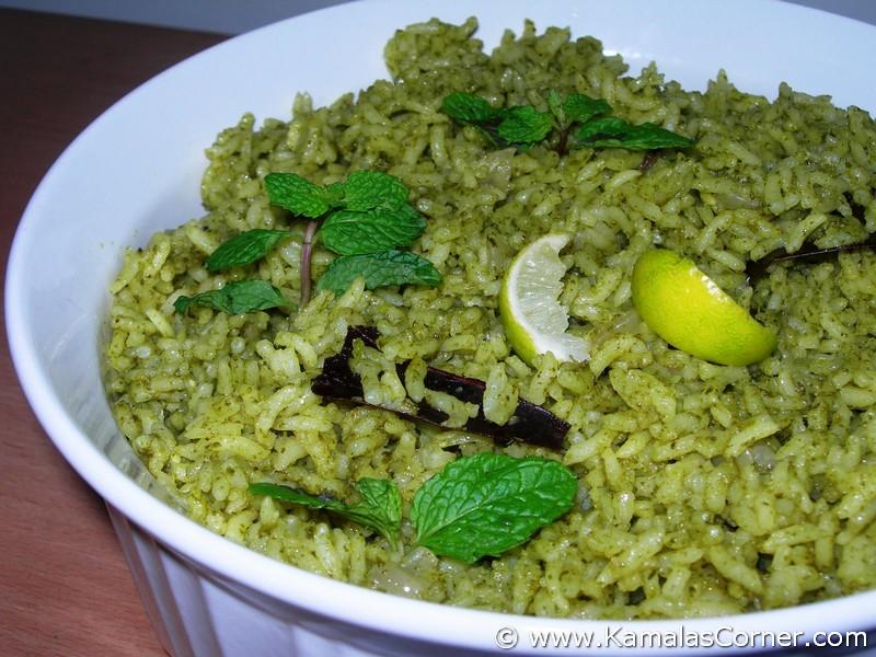 Pudina (Mint) Rice - Kamala's Corner