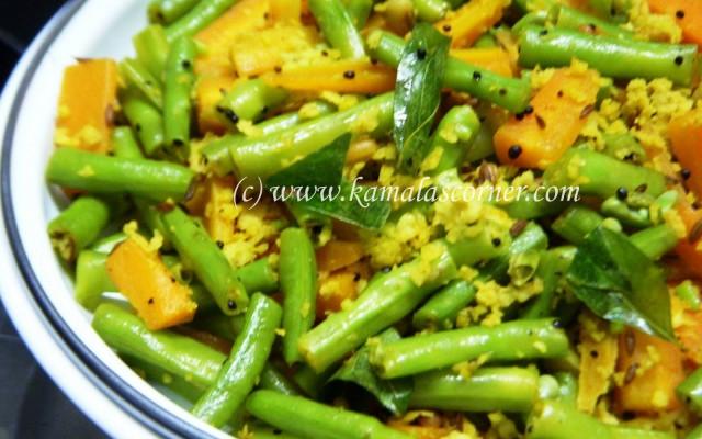 Payathankai (Long Beans) and Carrot Poriyal