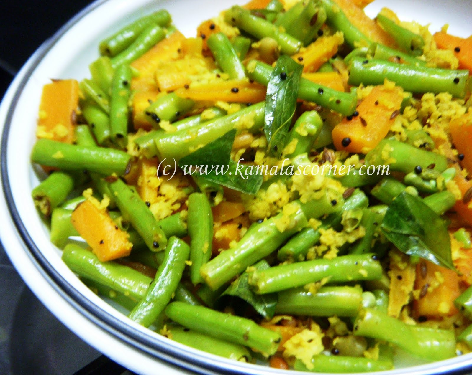 Payathankai (Long Beans) and Carrot Poriyal