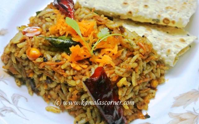 Carrot Puliyodharai (Tamarind Rice)