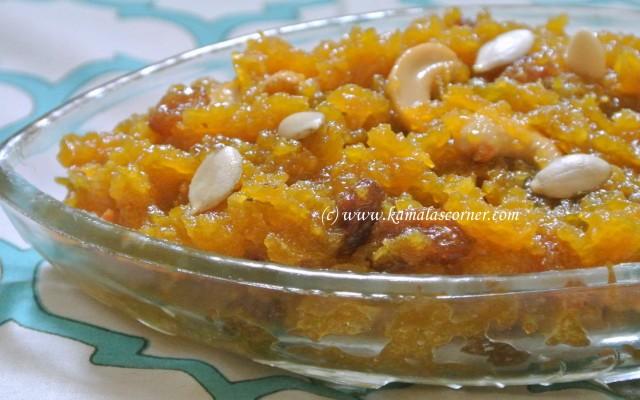 Parangi Kai (Yellow pumpkin)  Jaggery Halwa