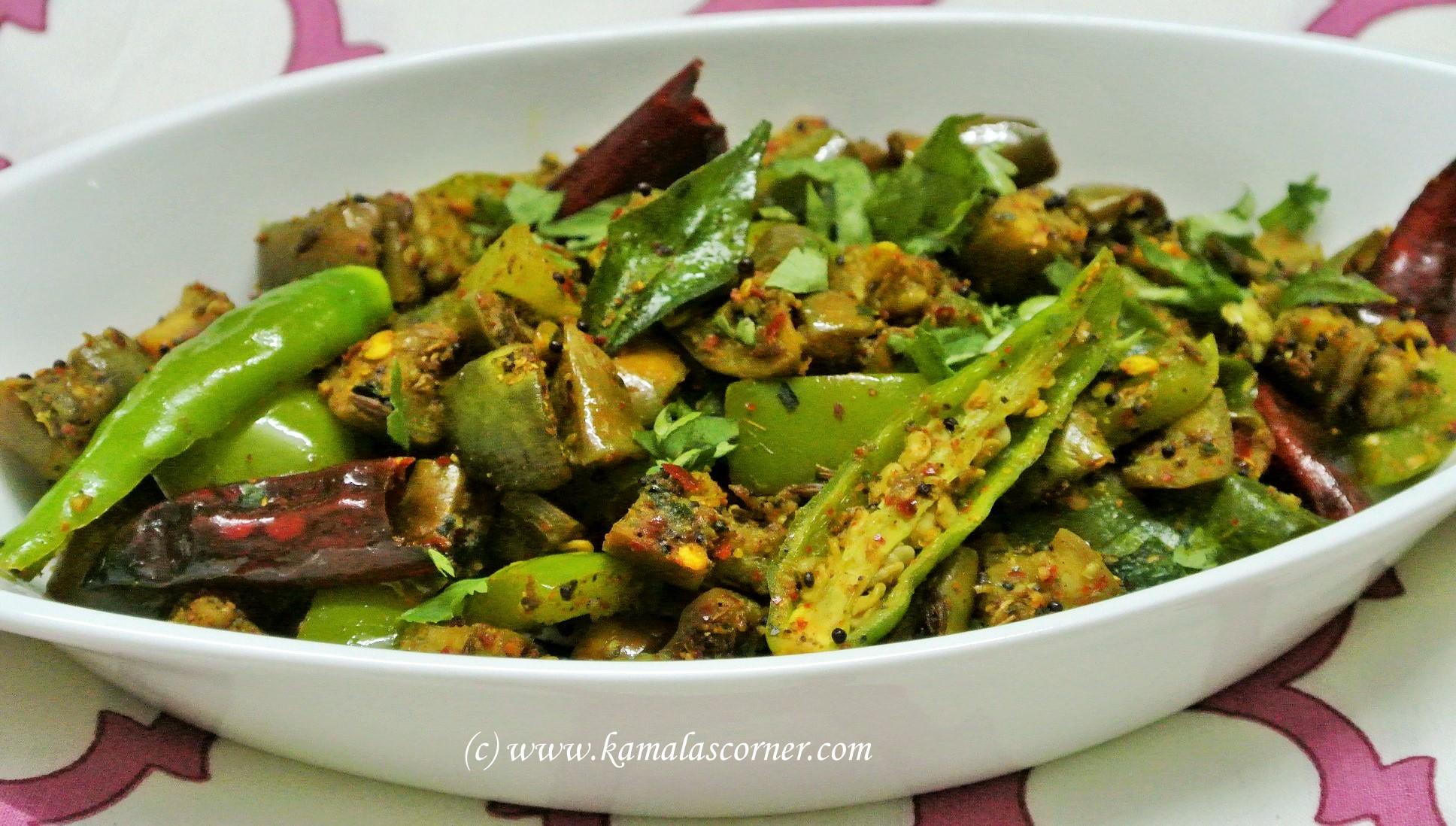 South indian poriyal recipes brinjal capsicum poriyal forumfinder Image collections